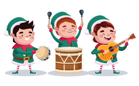 group of santa helpers playing instruments characters vector illustration design