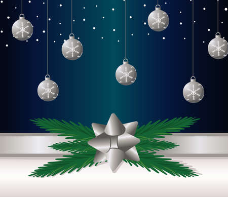 happy merry christmas silver balls and bow ribbon vector illustration design