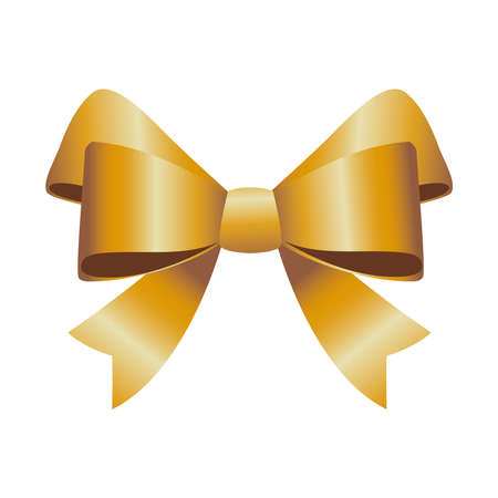 happy merry christmas golden bow ribbon icon vector illustration design