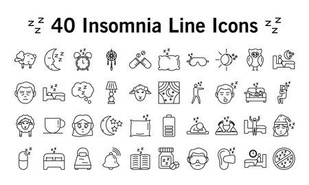 bundle of Insomnia line style icons vector illustration design