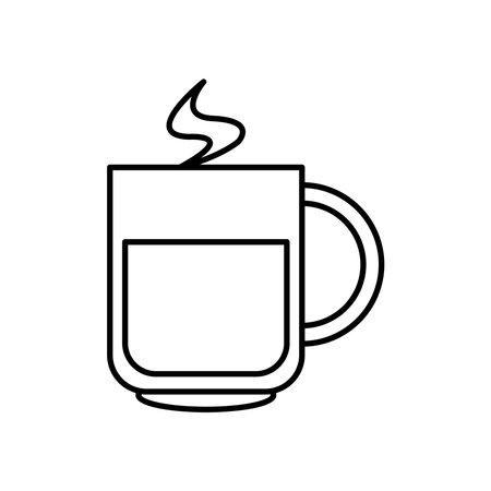 ceramic coffee cup line style icon vector illustration design