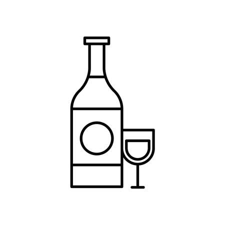 wine bottle and cup line style icon vector illustration design