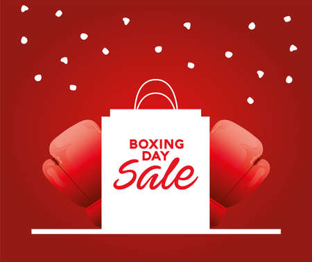 boxing day sale lettering with shopping bag and gloves vector illustration design