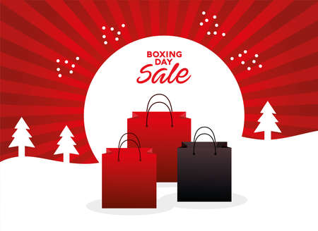 boxing day sale lettering with shopping bags in snowscape vector illustration design