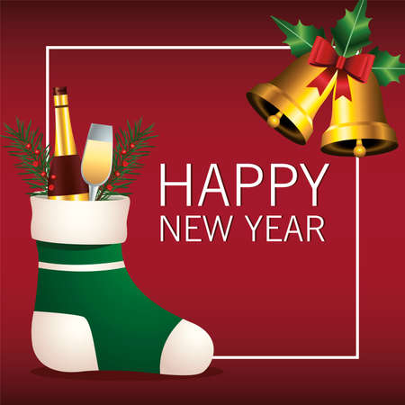 happy merry christmas lettering card with champagne in green sock vector illustration design Ilustrace