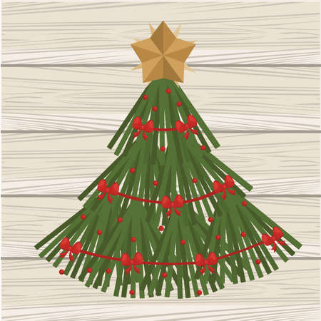 happy merry christmas pine tree in wooden background vector illustration design Ilustrace