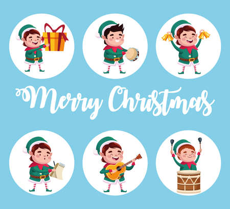 group of santa helpers characters with gifts and instruments vector illustration design