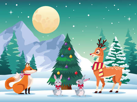 cute animals around of christmas tree in the snowscape vector illustration design