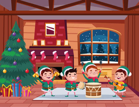 group of santa helpers playing instruments in the house vector illustration design Ilustracja