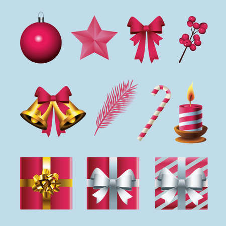 bundle of eleven happy merry christmas icons vector illustration design