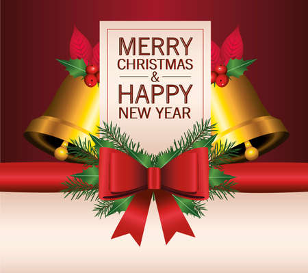 happy merry christmas lettering card with bells and bow ribbon vector illustration design Ilustrace