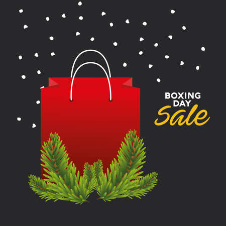 boxing day sale lettering with shopping bag and firs vector illustration design Ilustracja
