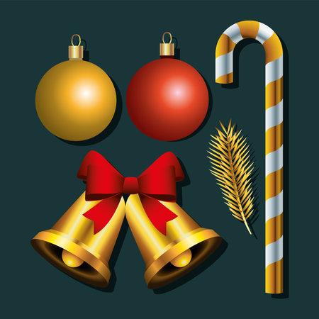 bundle of five happy merry christmas set icons vector illustration design