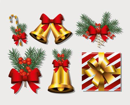 bundle of six happy merry christmas set icons vector illustration design