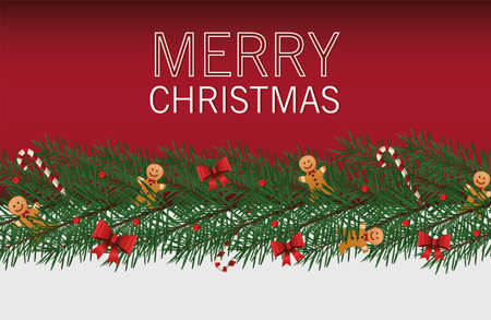 happy merry christmas lettering card with bows and gingerman in leafs vector illustration design