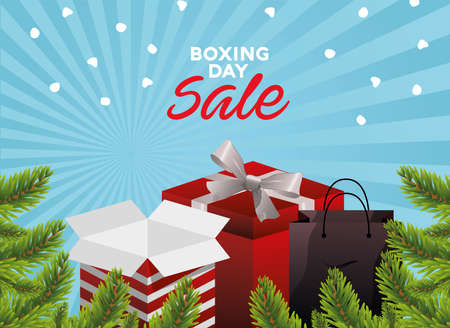 boxing day sale lettering with gifts and bag in firs vector illustration design Ilustracja