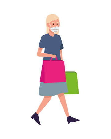 woman wearing medical mask with shopping bag character vector illustration design Ilustracja