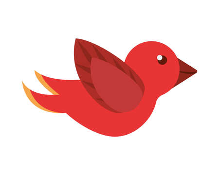 red bird flying isolated icon vector illustration design