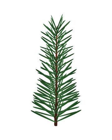 happy merry christmas fir leaf pine tree icon vector illustration design