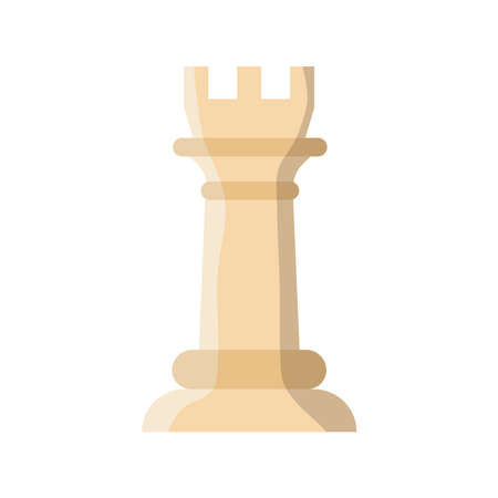 white rook chess piece flat style icon vector illustration design