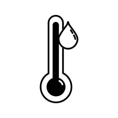 thermometer with drop weather measure line style icon vector illustration design Vektorgrafik