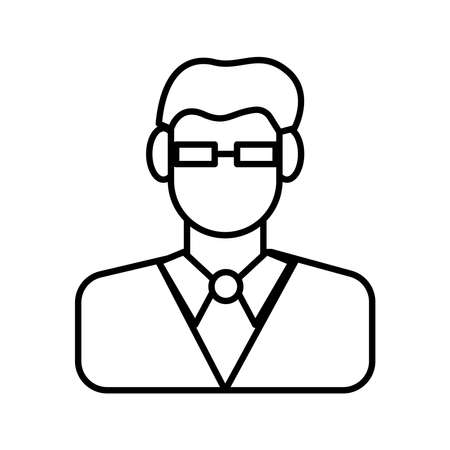 businessman with eyeglasses line style icon vector illustration design
