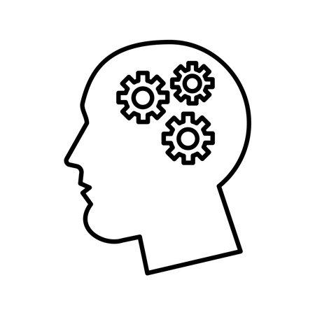 profile with gears psychologist line style icon vector illustration design Vektorové ilustrace