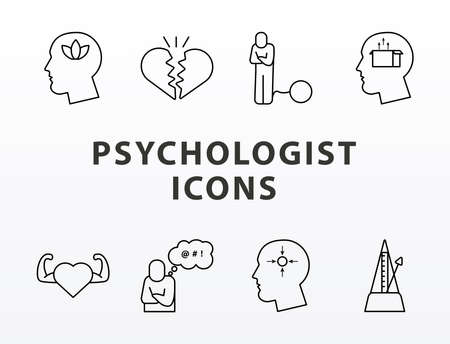 bundle of eight psychological icons and lettering vector illustration design