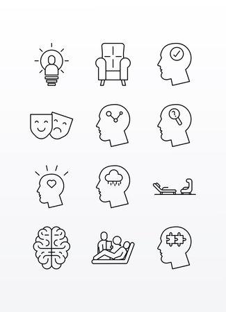 bundle of twelve psychological set icons vector illustration design