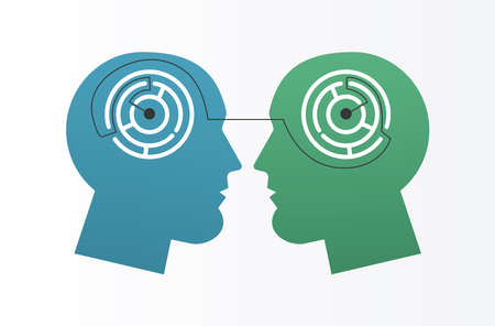 profiles with labyrinths psychologist line style icon vector illustration design