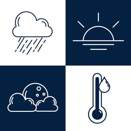 bundle of four weather line style icons vector illustration design Ilustracja