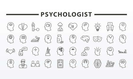 bundle of fourty psychological set icons and lettering vector illustration design