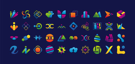 bundle of fourty logos company set icons vector illustration design