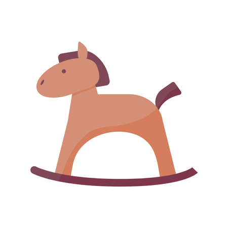 horse wooden baby toy flat style icon vector illustration design
