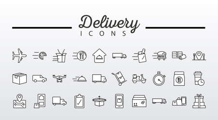 bundle of fourty delivery service icons and lettering vector illustration design