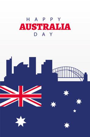 happy australia day lettering with flag and landmarks vector illustration design  イラスト・ベクター素材