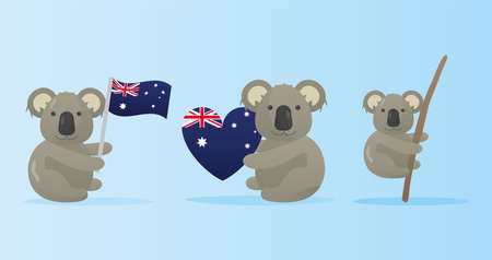 group of koalas with australian flags characters vector illustration design