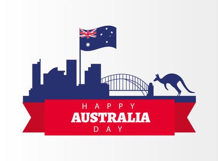 happy australia day lettering with flag and kangarooin landmarks vector illustration design