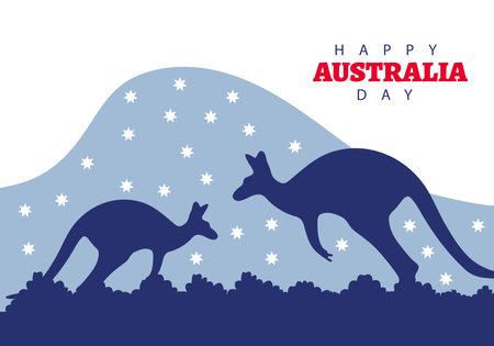 happy australia day lettering with kangaroos in landscape vector illustration design  イラスト・ベクター素材
