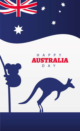 happy australia day lettering with flag and kangaroo and koala vector illustration design