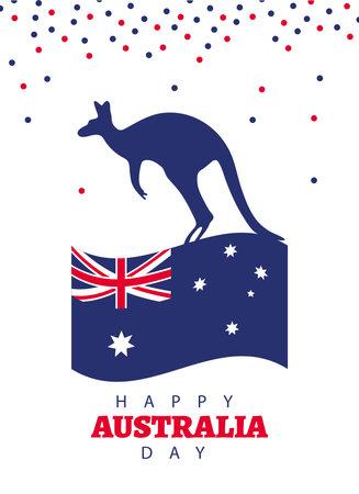 happy australia day lettering with kangarooin flag vector illustration design