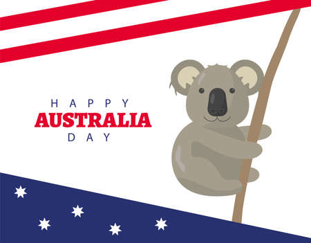 happy australia day lettering with flag and koala hanging vector illustration design