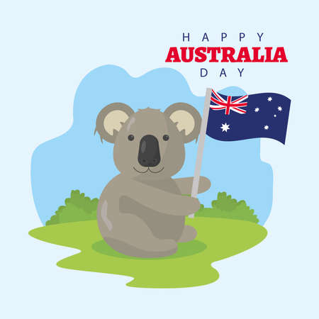 happy australia day lettering with koala waving flag vector illustration design  イラスト・ベクター素材