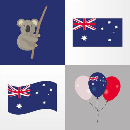 koala with australian flags and balloons helium vector illustration design