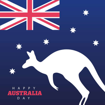 happy australia day lettering with kangaroo silhouette and flag vector illustration design