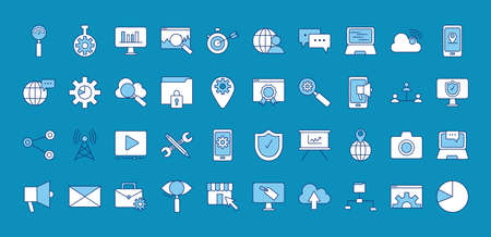 bundle of fourty marketing digital set icons vector illustration design Çizim