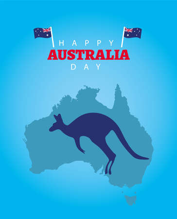 happy australia day lettering with flags and kangaroo in map vector illustration design  イラスト・ベクター素材