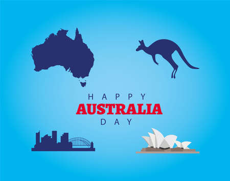 happy australia day lettering with set icons in blue background vector illustration design  イラスト・ベクター素材