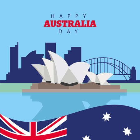 happy australia day lettering with flag and sydney opera in landmarks vector illustration design  イラスト・ベクター素材