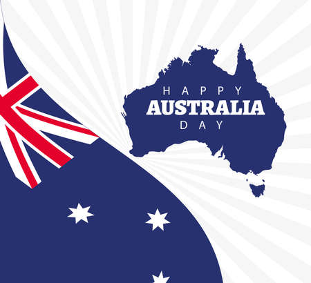 happy australia day lettering with flag and map vector illustration design